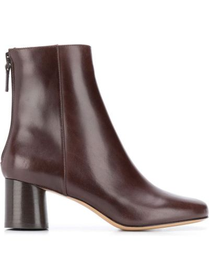 Коричневые кожаные ботинки челси на каблуке Sandro Paris