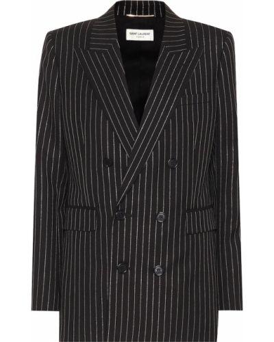 Классический пиджак черный с заплатками Saint Laurent