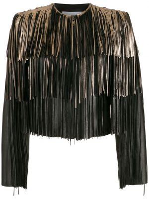 Черная кожаная короткая куртка с бахромой Nk