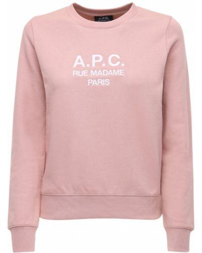 Розовый свитшот с вышивкой с круглым вырезом круглый A.p.c.