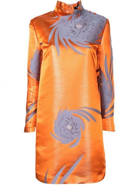 Оранжевое с рукавами платье макси с воротником Undercover