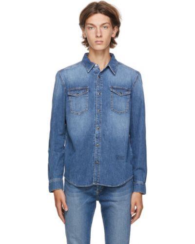 Niebieski koszula dzinsowa z kieszeniami z kołnierzem z długimi rękawami Givenchy