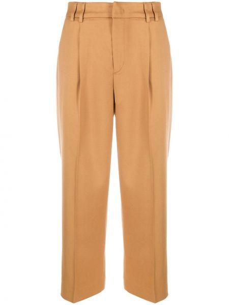 Шерстяные коричневые зауженные зауженные брюки со складками Pt01