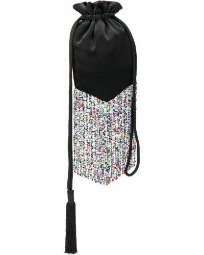 С кулиской черная сумка с бахромой Galvan