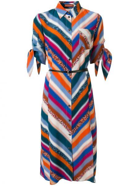 Шелковое классическое платье миди на пуговицах с воротником Altuzarra