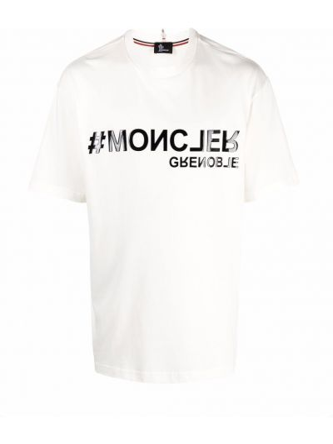 Biała koszulka bawełniana Moncler Grenoble