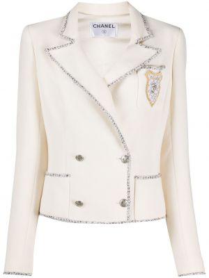 Белый удлиненный пиджак твидовый двубортный Chanel Pre-owned
