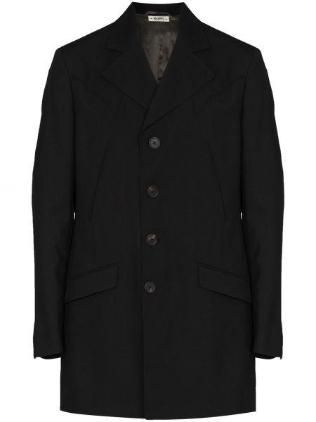 Czarny długi płaszcz wełniany z długimi rękawami Phipps