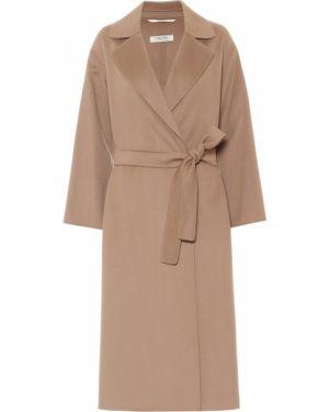Коричневое шерстяное пальто с поясом 's Max Mara