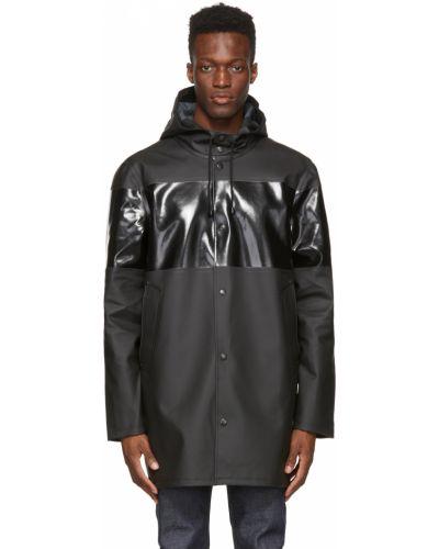 Czarny płaszcz przeciwdeszczowy z kapturem bawełniany Stutterheim