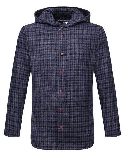 Синяя шелковая рубашка Kiton
