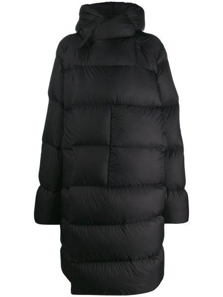 Черное пуховое длинное пальто с капюшоном Rick Owens