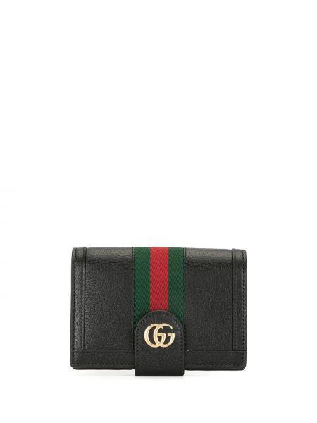 Czarny portfel z prawdziwej skóry z gniazdem z paskami Gucci