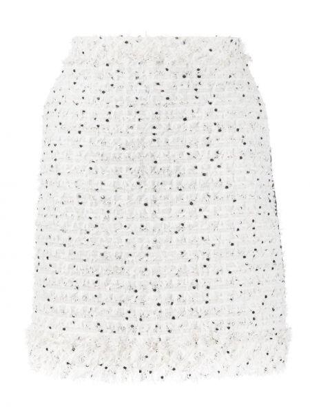 Белая юбка твидовая с бахромой Karl Lagerfeld