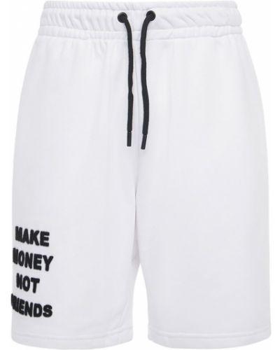 Białe szorty bawełniane Make Money Not Friends