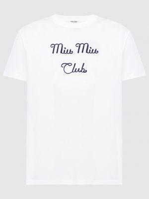 Белая футболка Miu Miu