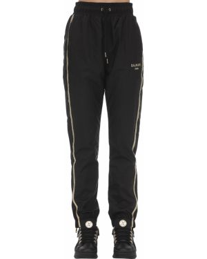 Czarne spodnie z haftem peep toe Puma X Balmain