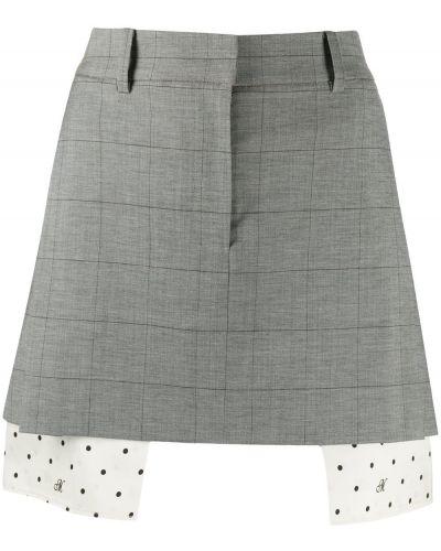 Шерстяная серая с завышенной талией юбка мини с карманами Monse
