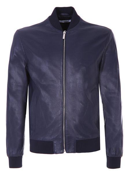 Синяя кожаная куртка с поясом на молнии с манжетами Dirk Bikkembergs
