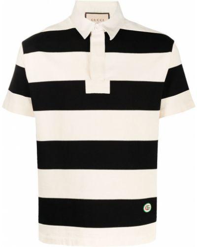 Czarna klasyczna koszula krótki rękaw bawełniana Gucci