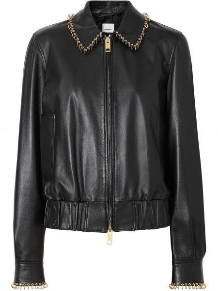 Черная кожаная куртка Burberry