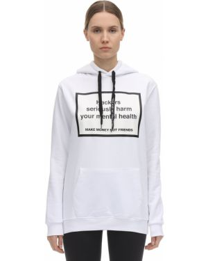 Prążkowana bluza z kapturem bawełniana Make Money Not Friends