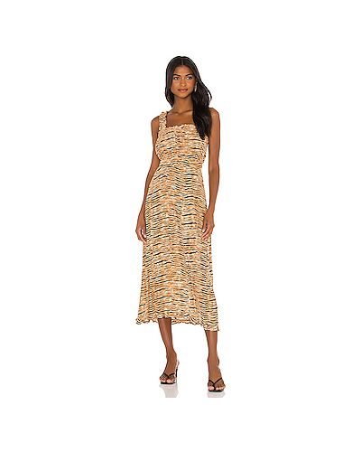 Шелковое платье миди на бретелях на молнии на резинке Faithfull The Brand