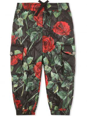 Czarne spodnie z printem Dolce & Gabbana Kids