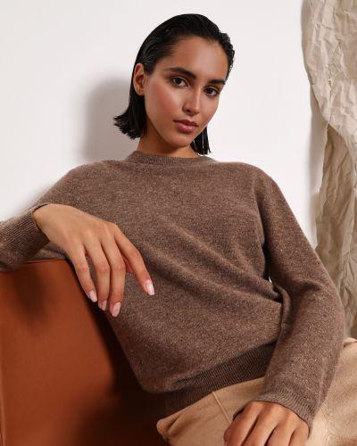 Облегающий кашемировый коричневый джемпер на резинке 12storeez