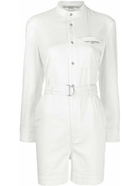 С рукавами белый джинсовый комбинезон с карманами Stella Mccartney