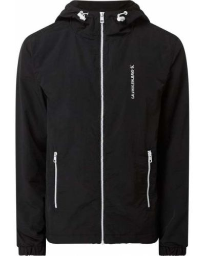 Czarny kurtka jeansowa z kapturem z zamkiem błyskawicznym Calvin Klein Jeans