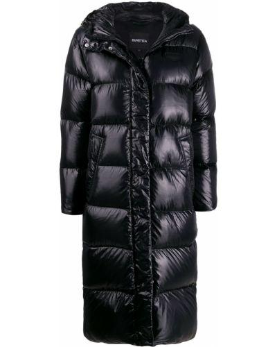 Пуховое коралловое длинное пальто с капюшоном Duvetica