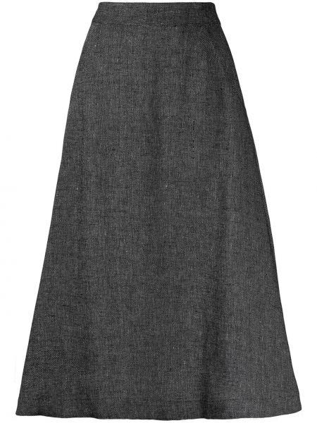 С завышенной талией черная юбка миди с карманами SociÉtÉ Anonyme