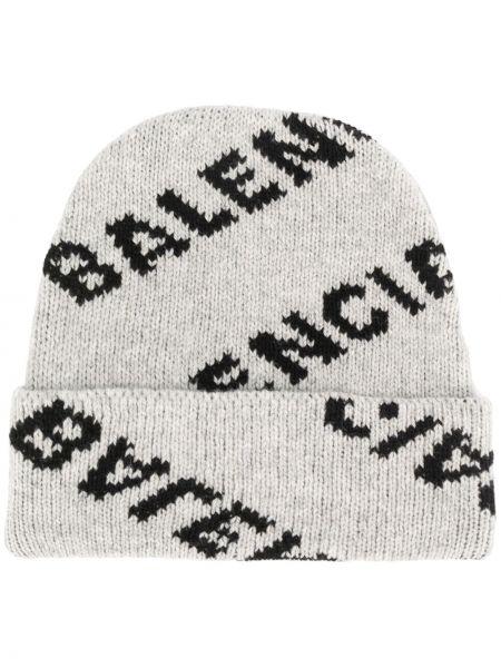 Zimowy kapelusz z logo trykotowy Balenciaga