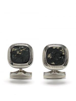 Czarne spinki do mankietów srebrne Tateossian