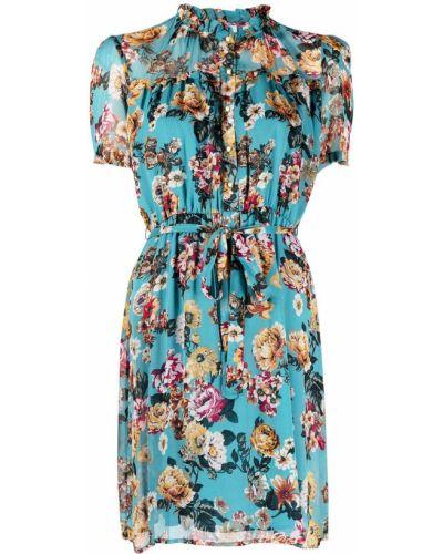 Синее платье мини в цветочный принт с воротником Liu Jo