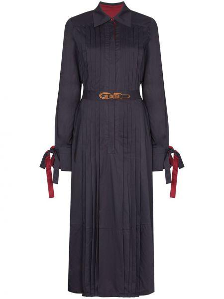 Плиссированное синее платье миди на пуговицах с воротником Evi Grintela