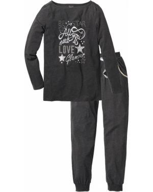 Пижама с брюками зимняя с карманами Bonprix