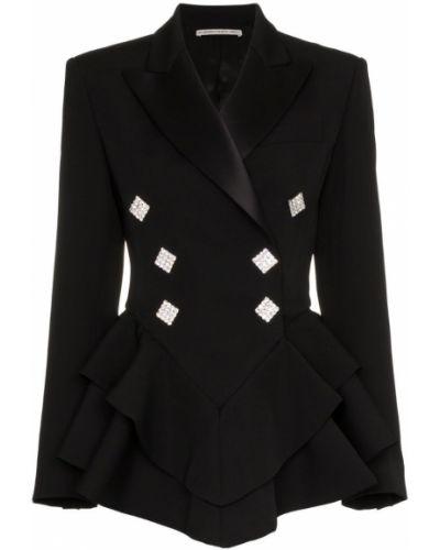 Черный удлиненный пиджак с баской на пуговицах Alessandra Rich