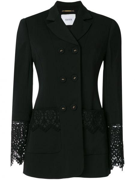 Шелковый черный пиджак двубортный Erdem