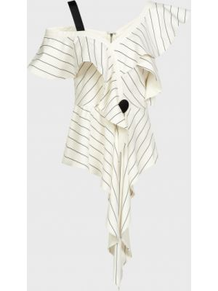 Белая блузка из вискозы на молнии Self-portrait