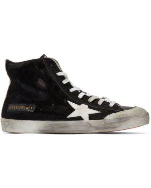 Czarny włókienniczy wysoki sneakersy perforowany z łatami Golden Goose