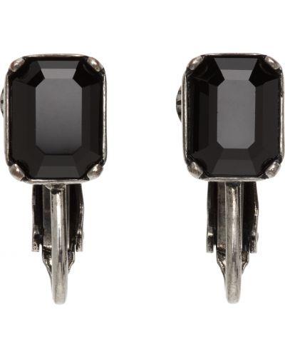 Kolczyki sztyfty srebrne - czarne Dsquared2