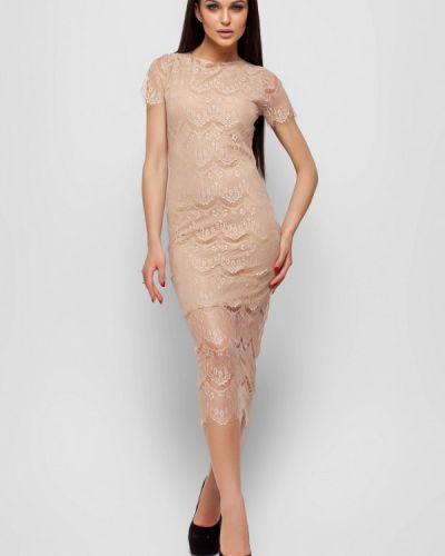 Коктейльное платье весеннее бежевое Karree