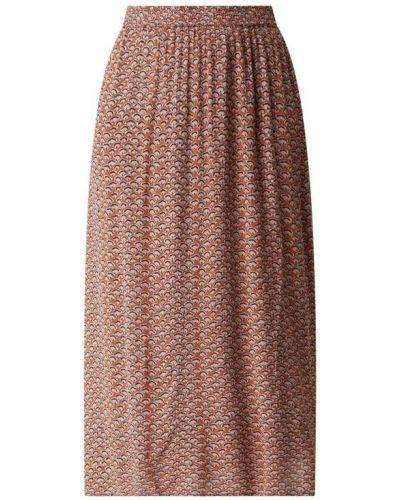 Brązowa spódnica maxi rozkloszowana z wiskozy Minus
