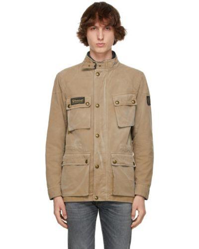 Długa kurtka khaki bawełniana vintage Belstaff