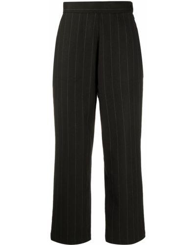 Шерстяные коричневые укороченные брюки с карманами с высокой посадкой Odeeh