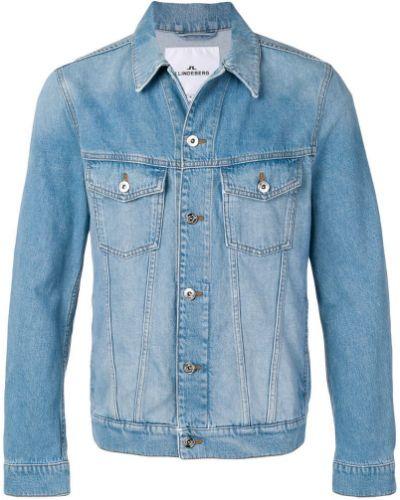 Джинсовая куртка длинная - синяя J.lindeberg