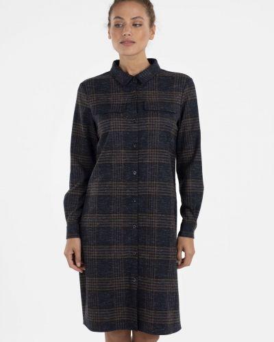 Шерстяное платье - синее Unq