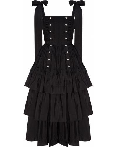 Приталенное черное платье миди с оборками Maison Bohemique